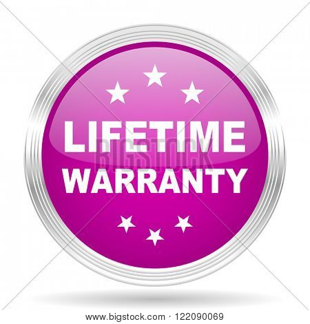 lifetime warranty pink modern web design glossy circle icon