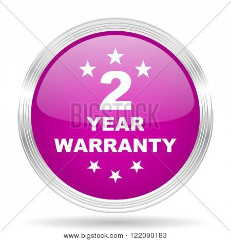 warranty guarantee 2 year pink modern web design glossy circle icon