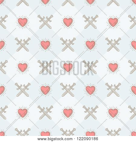Vector seamless background with crossed swords and sunburst heart - pattern for wallpaper, wrapping paper, book flyleaf, envelope inside, etc.