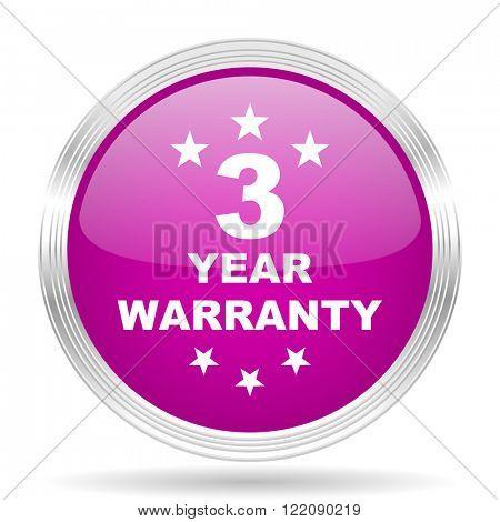 warranty guarantee 3 year pink modern web design glossy circle icon