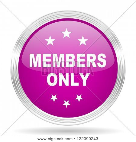 members only pink modern web design glossy circle icon