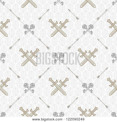 Vector seamless background with crossed old keys and swords - pattern for wallpaper, wrapping paper, book flyleaf, envelope inside, etc.
