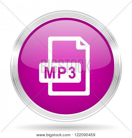 mp3 file pink modern web design glossy circle icon