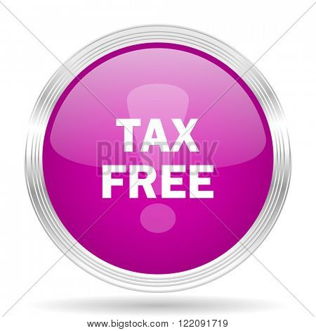 tax free pink modern web design glossy circle icon