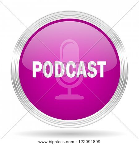 podcast pink modern web design glossy circle icon
