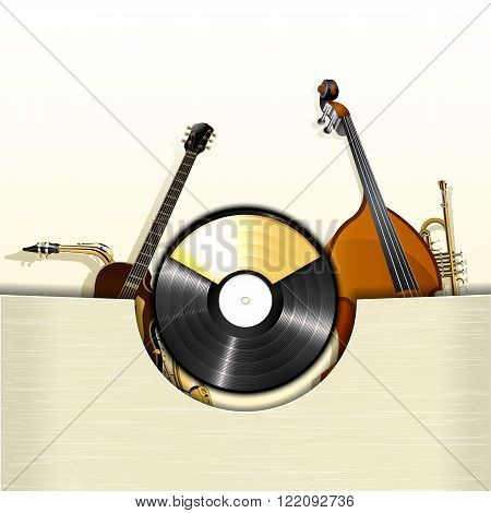 Vector illustration of a vinyl record with envelope and instruments jazz double bass, jazz guitar, trumpet and gold frame for text.