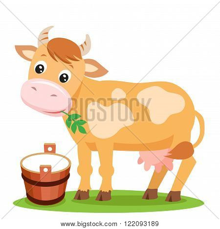 Cute Cow And Milk On A White Background. Farm Animal Character. Cut Isolated Vector. Farm Animal Toy. Farm Animal Supplies. Farm Animal Picture. Cow Farm. Cow Udder. Cow Costume. Cow Smile.