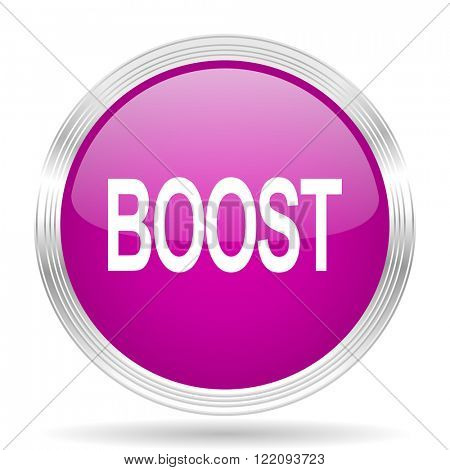 boost pink modern web design glossy circle icon