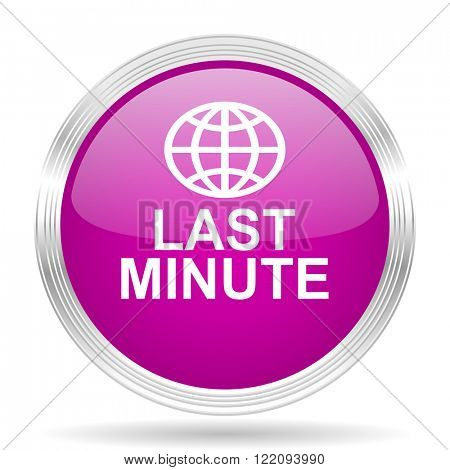 last minute pink modern web design glossy circle icon