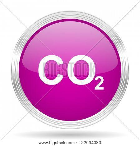 carbon dioxide pink modern web design glossy circle icon