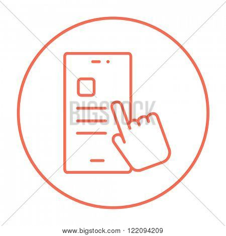 Finger touching smartphone line icon.