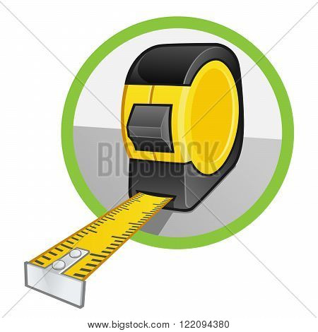 Vector of a tape measure on white background