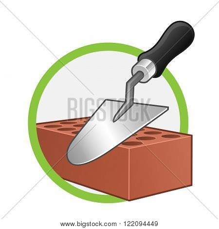 Vector of a trowel and brick on white background