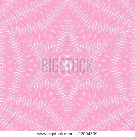 Abstract geometric seamless background. Delicate and ornate centered star pattern with ellipses elements in pink shades with white outlines.
