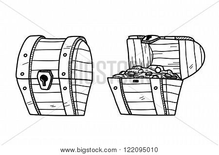 Treasure Chest Doodle, a set of hand drawn vector doodle treasure chest illustration.