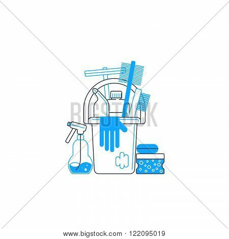 Cleaning supplies concept, flat design fancy illustration