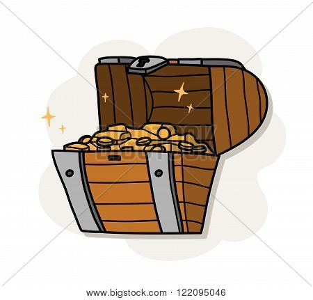 Treasure Chest Icon, a hand drawn vector illustration of a treasure chest.