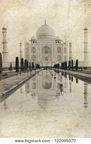 Taj Mahal In Agra, India. Vintage Image