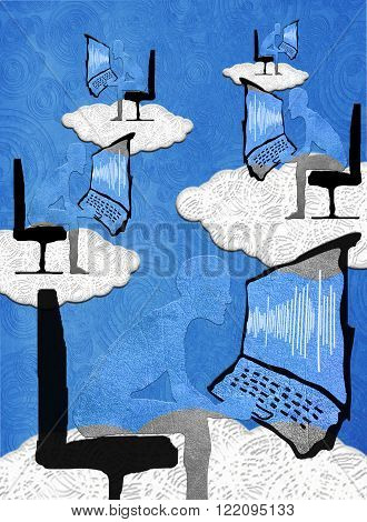 cloud computing concept high quality digital illustration