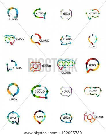 Set of flat linear design speech cloud logos. Talk bubbles, modern geometric industrial thin line icons. Vector