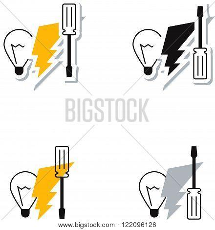 Electrical service logo set, flat design icon