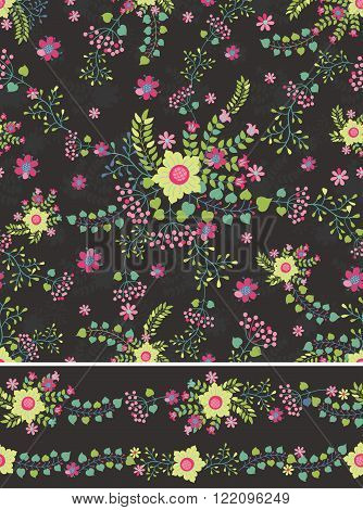 Flowers in  Seamless  pattern , borders.Cute stylized bouquet, arrangement in retro style .Use for fabrics, Wallpaper, background, wrap, Vintage vector illustration.