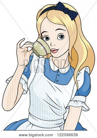 Illustration of Comic stile Alice takes a cup of tea