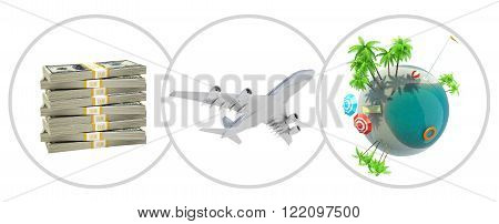 Money, jet and earth globe in circles isolated on white background