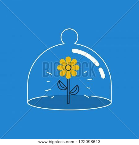 Assets insurance concept, linear design illustration icon