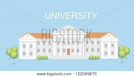 University or college building. Campus design, graduation university,   school vector illustration