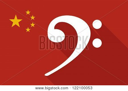 China Long Shadow Flag With An F Clef