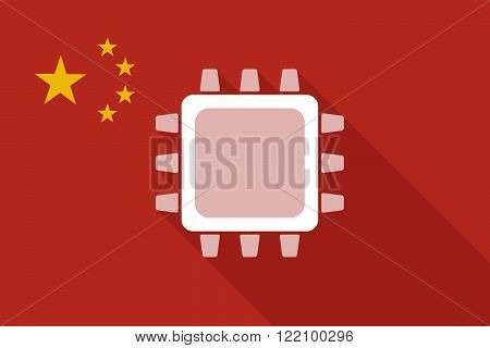 China Long Shadow Flag With A Cpu
