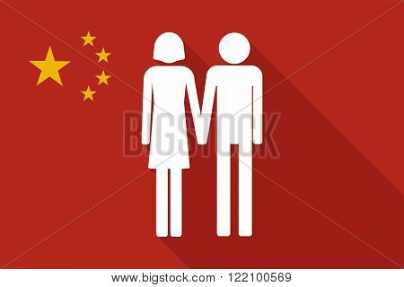 China Long Shadow Flag With A Heterosexual Couple Pictogram