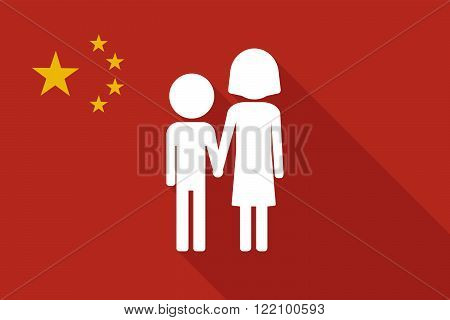 China Long Shadow Flag With A Childhood Pictogram