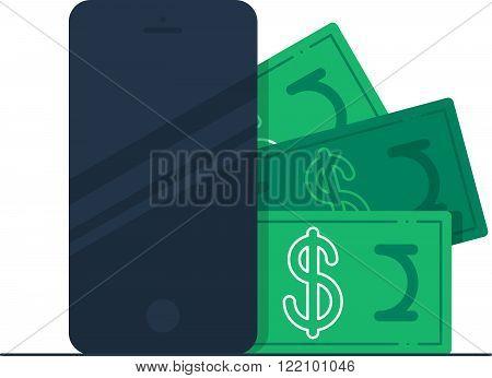 Bonus money on a phone. Mobile banking.