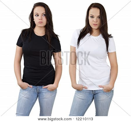 Female And Blank White And Black Shirts