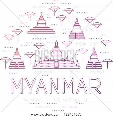 Round collage of Bagan sights. Myanmar travel template. Thin line icons of pagodas.
