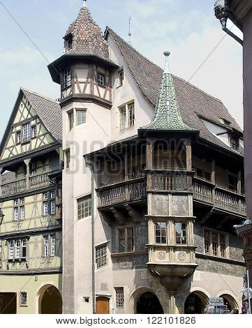 France Colmar medieval city in the centre of Europe. The house with a balcony