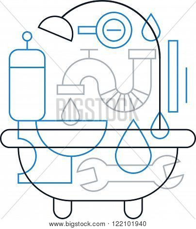 Plumbing work pattern, linear design collage isolated