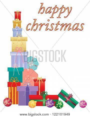 an illustration of a christmas card with a colorful stack of gifts and the words happy christmas on a white background