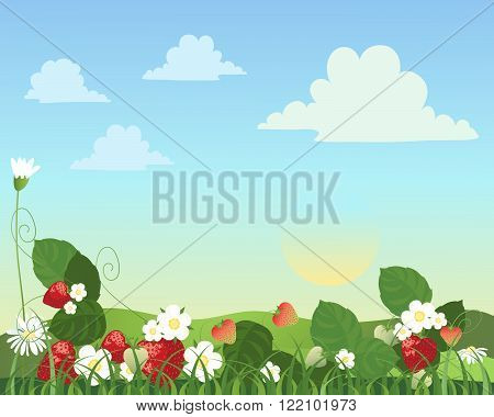 an illustration of a strawberry patch with fruit flowers and daisies with a summer landscape in the background
