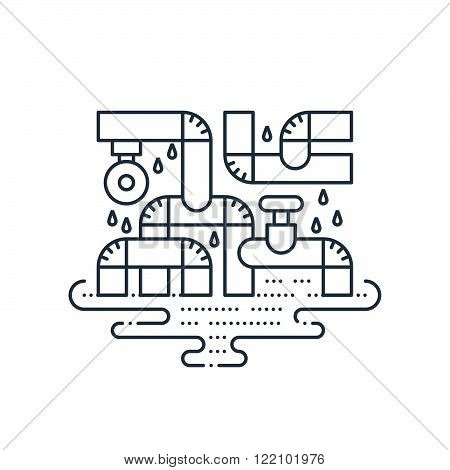 Bad plumbing. Pipe leakage. Canalization problems. Linear design