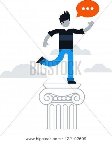 Public speaking courses, on top, flat design illustration