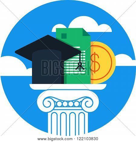 Education concept, grants, course, flat design illustration