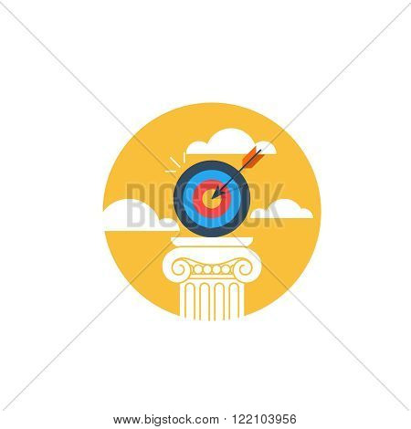 Aim high, reach goals, flat design illustration