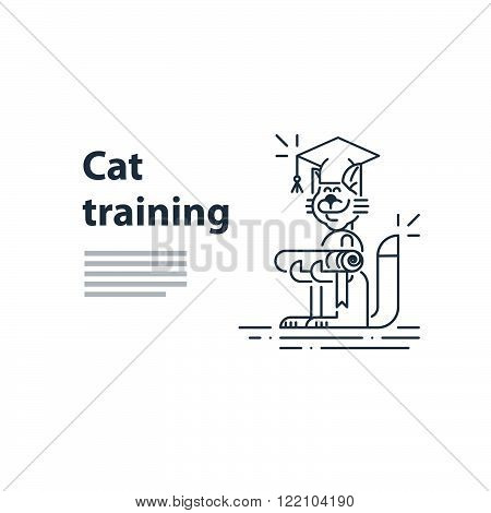 Can be used as a representation of any courses or university studies, and literally for cat training service. A certificate or invitation.