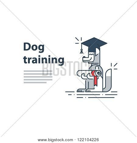Can be used as a representation of any courses or university studies, and literally for dog training service. A certificate or invitation.