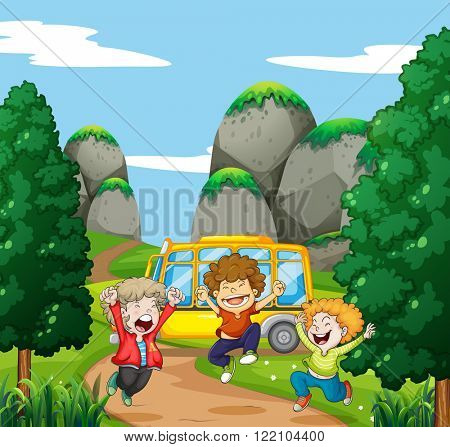 Three happy boys in the park illustration