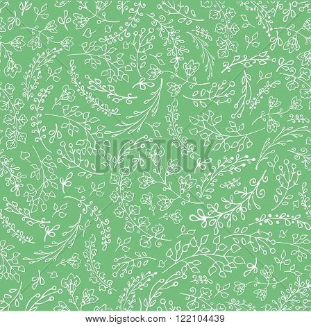 Vector Doodles branches seamless pattern.Leaves, laurels natural hand sketched decor .For wrap, backdrop, fabric ornament, background.Vintage  wedding, Valentine day, birthday, Easter holiday