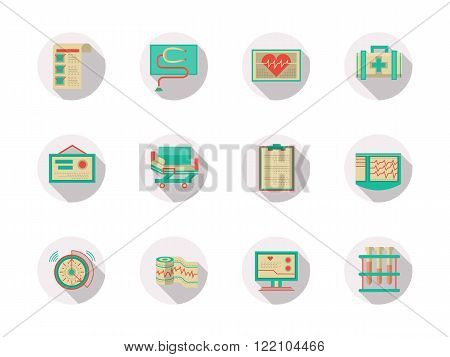 Cardiology equipment round flat color vector icons